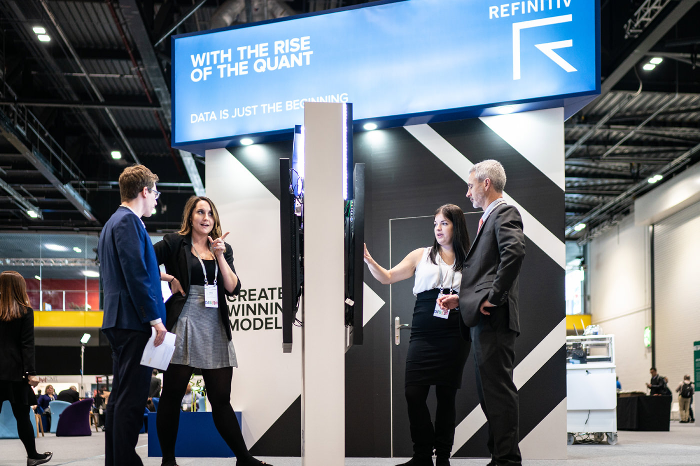 Delegates meeting with sponsor Refinitiv at the CFA Conference in the Capital Hall at ExCel London