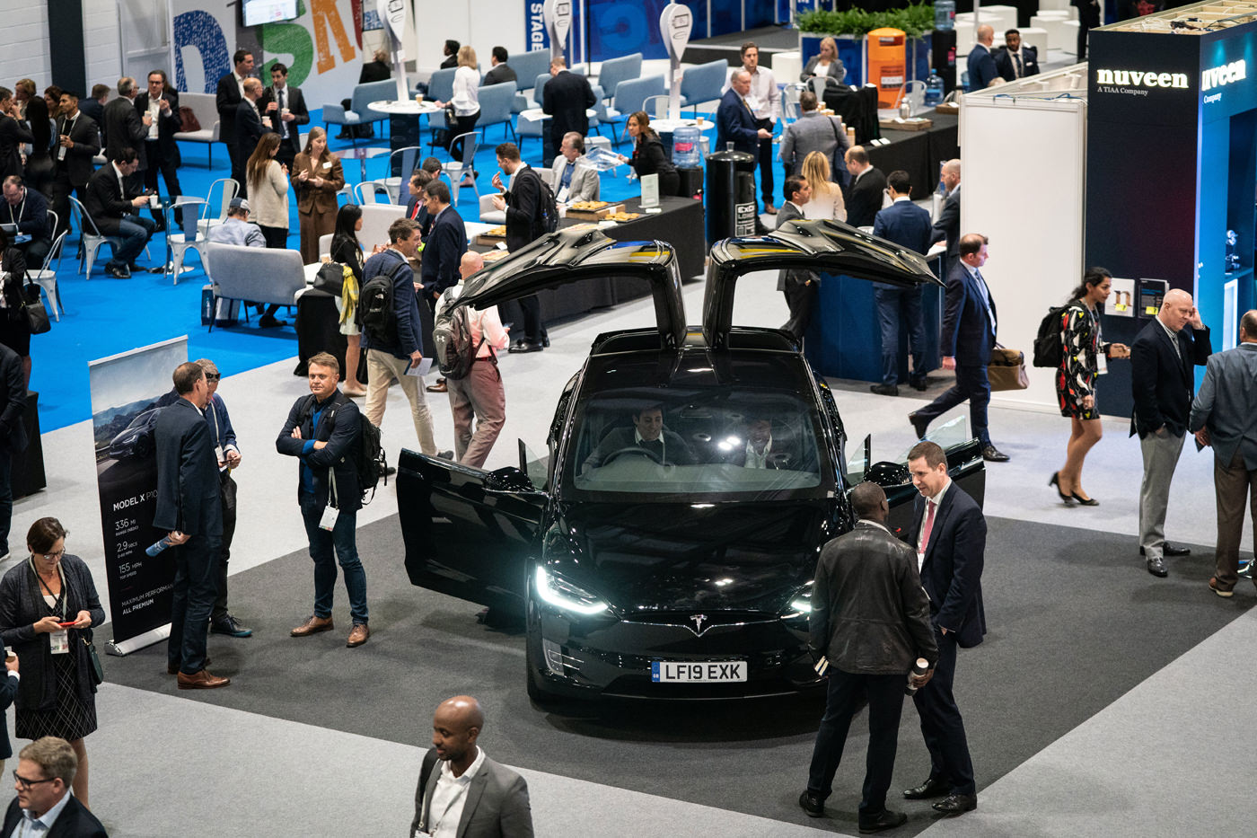Tesla sponsor booth at the CFA Institute 72nd Annual Conference Excel London